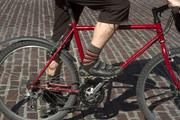 Ben Franz-Knight's cycling pants consist of a wool suit slack which he has torn off above the ankle, with the nylon lining ripped out. He likes them because they're lightweight, warm and dry easily and can be worn year round.