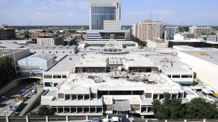 Demolition continues on a portion of Downtown Plaza to make way for an arena for the Sacramento Kings.