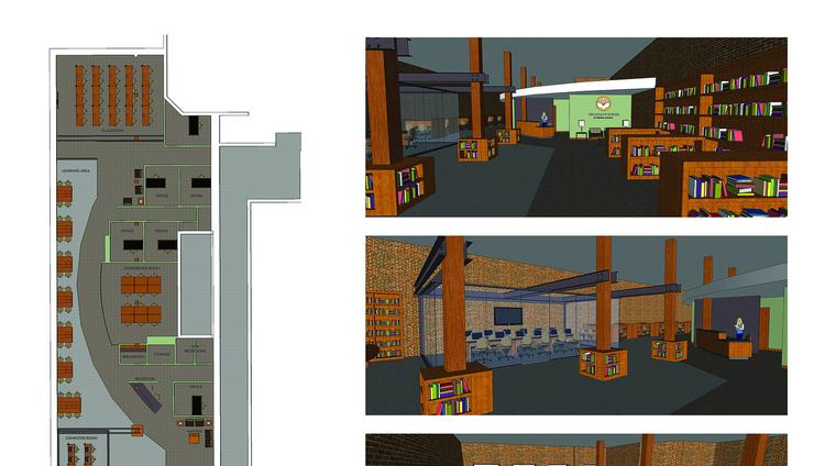Renderings of the Literacy Council's planned expanded office downtown.
