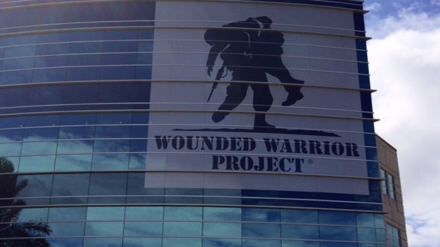The Wounded Warrior Project logo is emblazoned on its headquarters in Jacksonville.