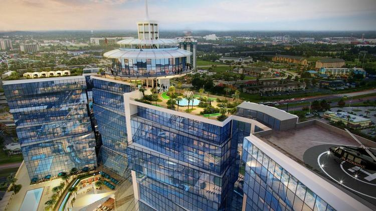 New renderings of the planned iSquare Mall + Hotel development on International Drive include a rooftop rotating restaurant, observation deck and helipad.