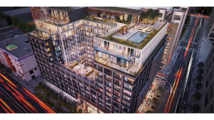 An aerial view of the proposed 290-unit, 13-story apartment building planned for 1244 South Capitol St. SE.