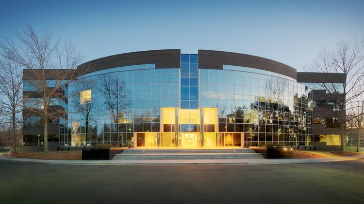 The 98,000-square-foot 2525 Meridian Parkway office building in the Meridian Business Campus in Durham.