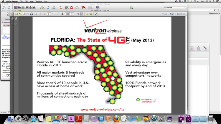Verizon Wireless has spent $500 million since 2010 building its 4G LTE network in Florida, with more to come.