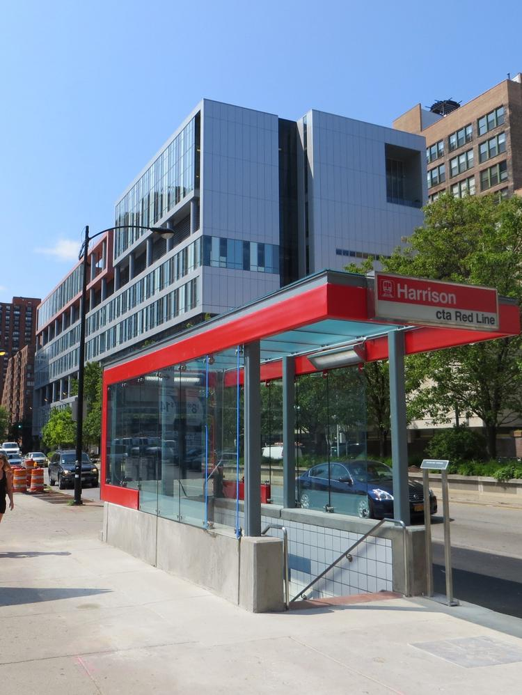 A bright new entrance canopy is part of the Chicago Transit Authority's Harrison Street Red Line station rehab.