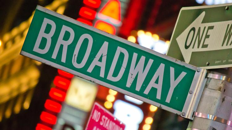 A Broadway street sign in Times Square.