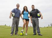 """""""Essentially, it's golf with a soccer ball. There are no clubs; just your feet, a regulation soccer ball and a really big hole. And, as you might expect, it's brought a different sort of player to the course"""" said Garrett Peek, Mansfield Nationals general manager, left, on the course with Leah Martinek and Andrew Patterson."""