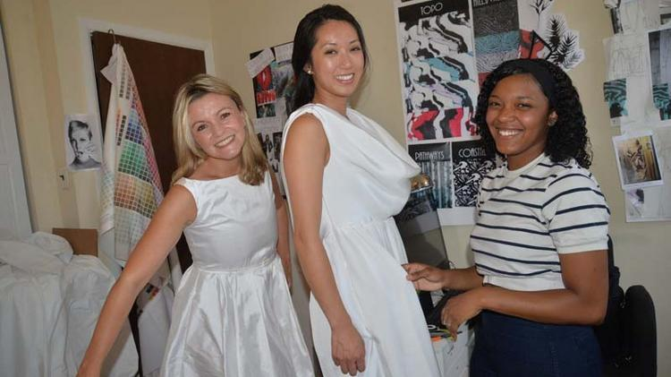 Project Runway winner Dom Streater created dressed specifically for Diner en Blanc co-hosts Natanya DiBona and Kayli Moran.