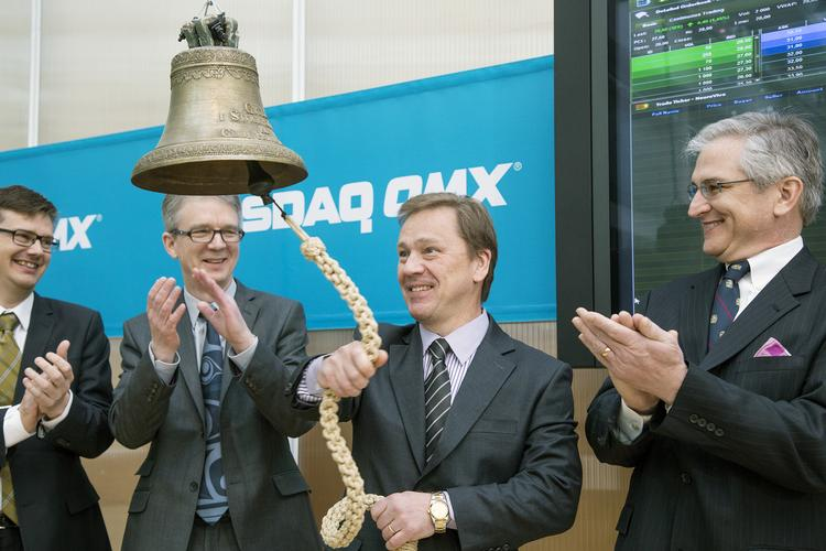 Pictured from left at the NASDAQ OMX stock exchange in Sweden are Eskil Elmér, Neurovive chief scientific officer; Greg Batcheller, chairman of NeuroVive; Mikael Brönnegård, NeuroVive CEO; and Marcus Keep, founder of Maas Biolab and co-inventor of a new form of drugs he hopes could help patients with ALS live longer.