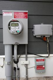 The electrical meter indicates how much solar energy has been returned to the local power grid.