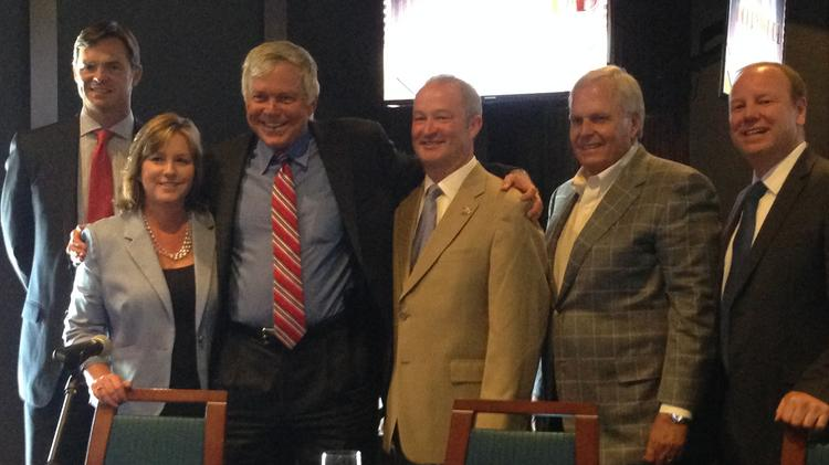 The Kansas Speedway hosted a Sports Business Insider Series Panel discussion on the economic impact of sports. The panelist were (from left to right): Mark Donovan, president of the Kansas City Chiefs; Kathy Nelson, CEO of the Greater Kansas City Sports Commission and Foundation; Rick Horrow, CEO of Horrow Sports Ventures; Pat Warren, president of Kansas Speedway; Rick Hendrick, owner of Hendrick Motorsports and Hendrick Automotive Group; and Joe Reardon, former mayor of the Unified Government of Wyandotte County/Kansas City, Kan.