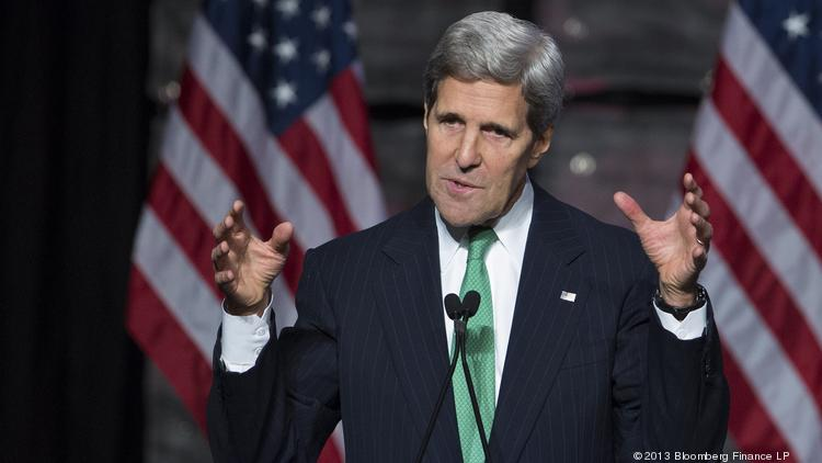 U.S. Secretary of State John Kerry, seen in this November 2013 Bloomberg file photo, wrapped up a trip to Asia with a stop in Hawaii, with a speech at the East-West Center in Honolulu.