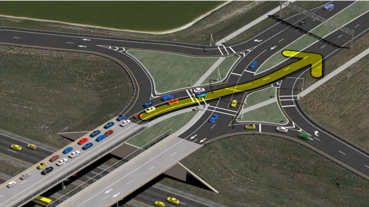The state is proposing a diverging diamond interchange for Nassau County.