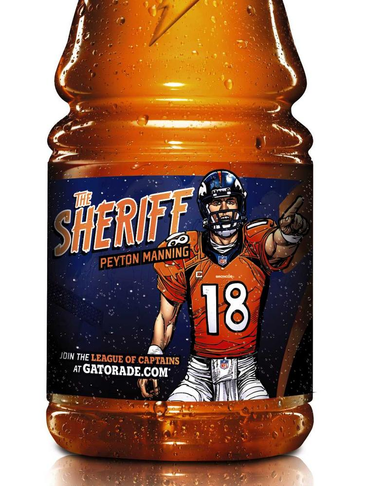Denver Broncos quarterback Peyton Manning's likeness appears on Gatorade bottles in a new ad campaign for the sports drink.