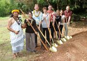 From left, Kahu Kalama Cabigon, Hawaii Nature Center Executive Director Dyanna Okazaki, HNC Board Member Jeff Case, HNC Vice President Bettina Mehnert, Nate Smith of the GIFT Foundation, Janis Reischmann of Hauoli Mau Loa Foundation, HNC Board President Jan Sullivan and Christopher Baze of Hawaiian Dredging Construction Co. break ground at the blessing of a new Rain Pavilion located on the grounds of the Hawaii Nature Center. The Rain Pavilion will allow the HNC to serve more children, youth and families throughout the year.
