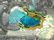 Overhead view of SeaWorld's planned new killer whale habitat, which will double the size of the whale environment.