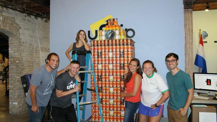 Cook 'em corns! The uShip gang cranked out this University of Texas tower largely made of canned corn. Click through for other fantastic food fabrications from the 2014 Canville contest.