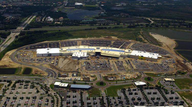 An aerial view of the Mall at University Town Center in May. Click through the photos to watch the mall evolve.