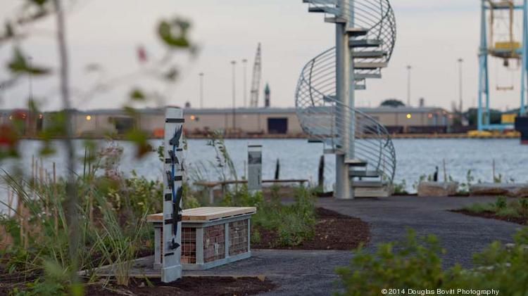 """""""Land Buoy,"""" a 55-inch spire by artist Jody Pinto, allows visitors to climb a 16' spiral staircase to a platform that allows for views up and down the Delaware river."""