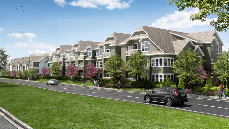 This rendering shows Greenwood Reserve, a 228-unit project at Greenwood Street and College Boulevard in Lenexa, that CityScape Residential is beginning work on.