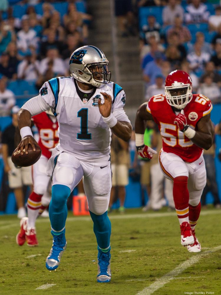 Carolina Panthers quarterback Cam Newton scrambles during the first quarter of the Aug. 17 exhibition game against the Kansas City Chiefs at Bank of America Stadium.