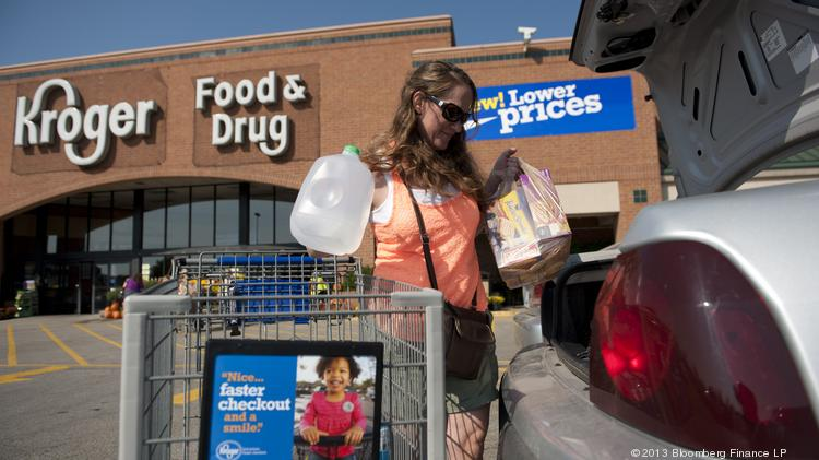 A shopper loads her purchases into the trunk of her car outside a Kroger supermarket.