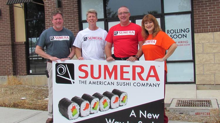 The founders of Sumera stand in front of the first location at 4313 Far Hills Ave. in Kettering. From left — Tim Tefs, Matt Curtis, Ray Wiley and Kelly Gray.