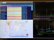 A monitor on the wall at Skytap shows traffic on Skytap's servers.