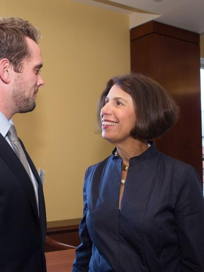 Phyllis Rappaport said the family's foundation is looking for a new Boston-area law school to take on a public service program and fellowship that had been run out of Suffolk University Law School. Suffolk recently shuttered the program. Rappaport is pictured here with pictured here with Sean Tierney of Cambridge, a 2013 Rappaport Fellow and a 2014 graduate of Suffolk Law School.