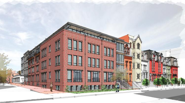 A perspective of The Blagden, which will include two new buildings with 125 micro units total.