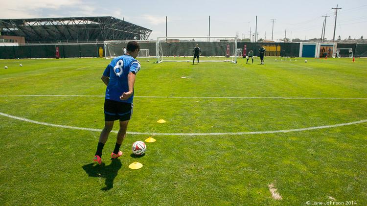 San Jose Earthquakes and U.S. Mens National Team forward Chris Wondolowski dribbles toward goal at a recent practice in San Jose. Click through the photos to see how Wondo and his teammates use wearable technology to help quantify their performance.