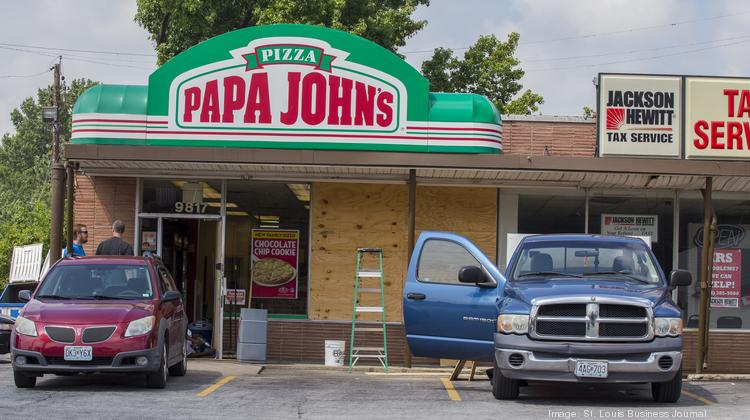 A front window was broken Sunday night at Papa John's Pizza, 9817 W. Florissant Ave.