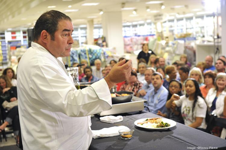 Emeril Lagasse gave a cooking demonstration Wednesday night at the Belk store in SouthPark mall.