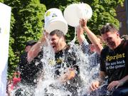 "Sprint CEO Marcelo Claure takes part in the ""Ice Bucket Challenge."""