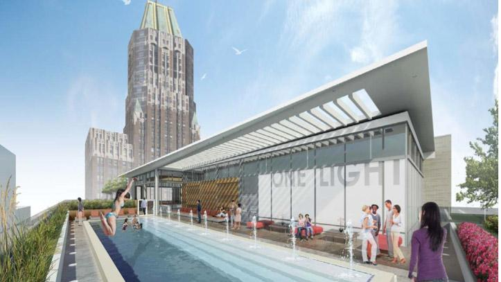 A brochure promoting the project says the rooftop pool harkens back to the amenities the now-demolished Southern Hotel featured.