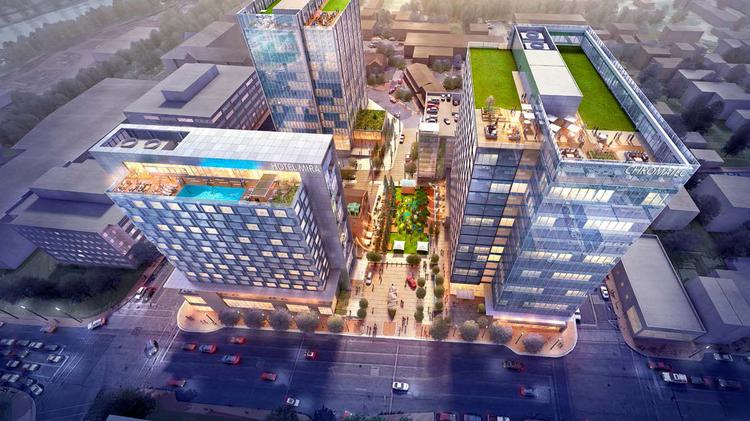An overhead rendering of One Conshohocken which will have a 200-room hotel, and a 300,000-square-foot office building.