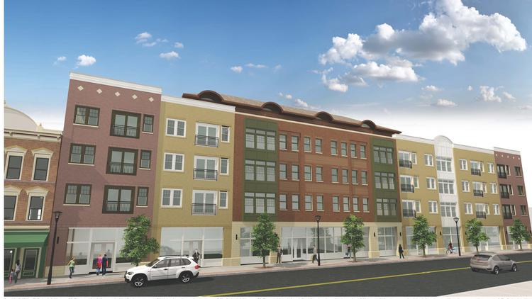 Rendering of Prime Cos. proposed apartment complex and retail shops on State Street in downtown Schenectady, New York.
