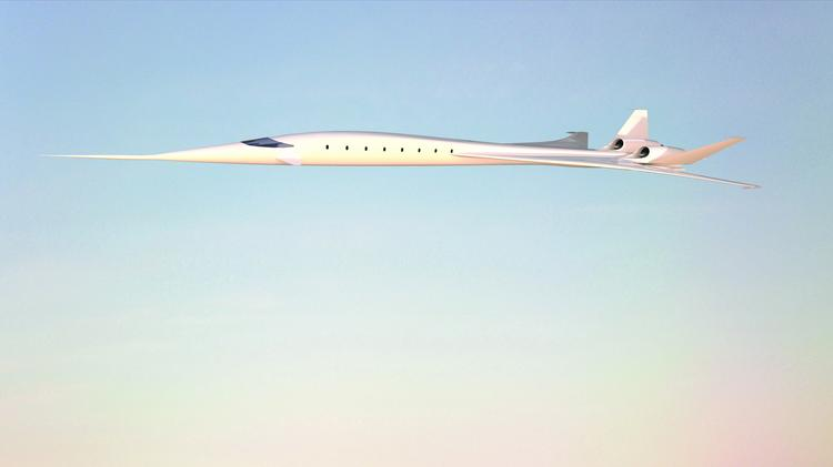 "A drawing of the ""SonicStar,"" a concept supersonic plane by HyperMach that would fly at over four times the speed of sound. The engines for the plane are being developed by SonicBlue Aerospace, a company that recently relocated to Mebane."