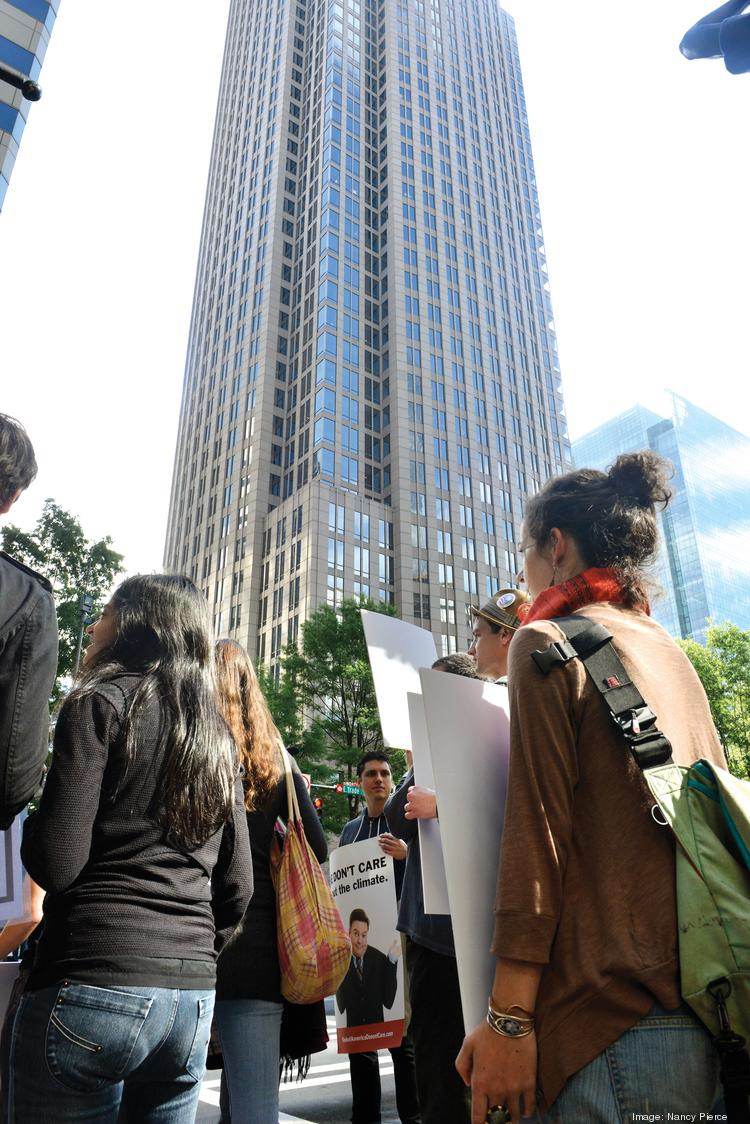 Protesters lined up outside BofA's annual meeting this week, though they were quieter and smaller in number this year.