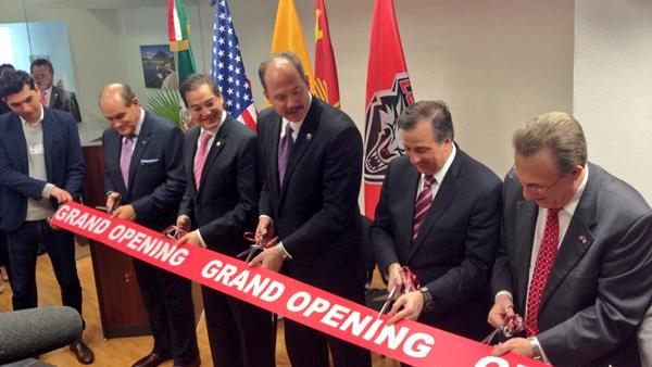 Mayor Richard J. Berry and University of New Mexico President Robert G. Frank were in Mexico City Tuesday for a ribbon cutting ceremony for the New Mexico Trade and Higher Education Center.
