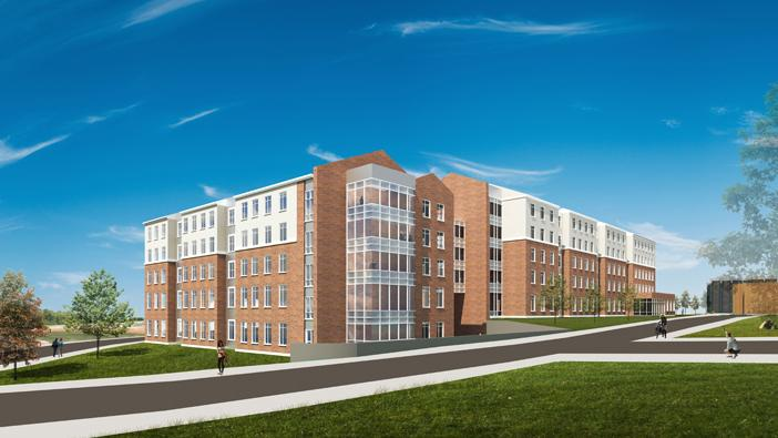 A view of the southwest corner of the residence hall under construction at Wichita State University.