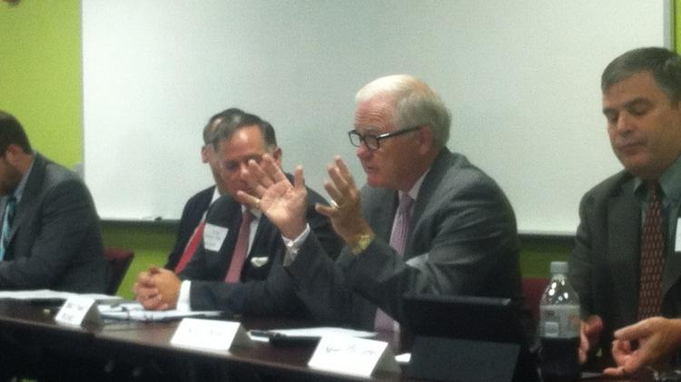 Retired Air Force General Ron Keys discusses the military as a cleantech customer during a roundtable at the North Carolina Clean Technology Center at N.C. State University's Centennial Campus.