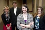 Melissa Koellner, foreground,  vice president for internal audit for PharMerica Corp., is shown with staff members, from left, Emma Sturgeon and Kyle Hugenberg, both internal auditors, and Katie Kunkel, manager of internal audits.