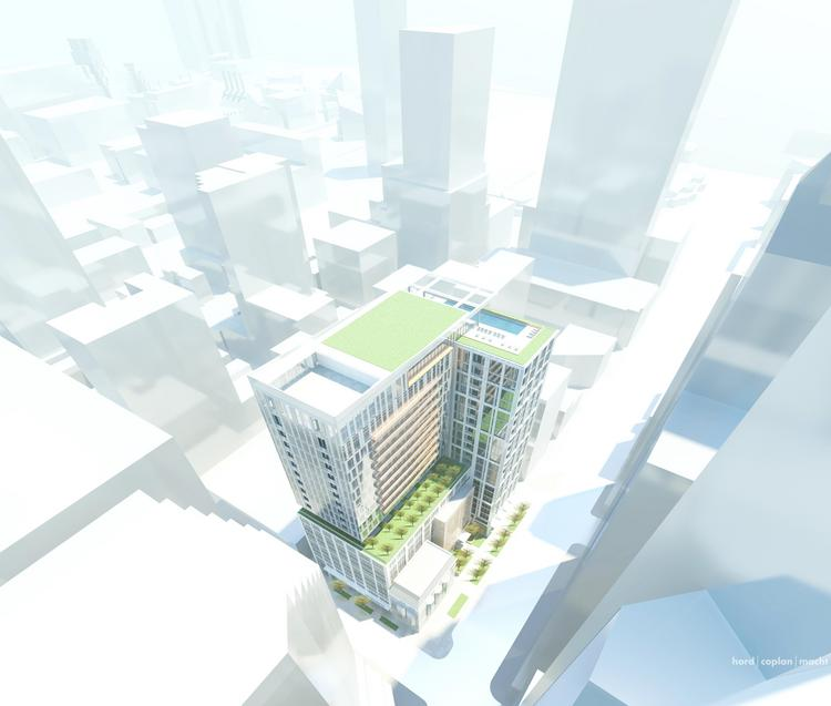 An artist's rendering of a 22-story tower planned for 1 Light St. downtown.