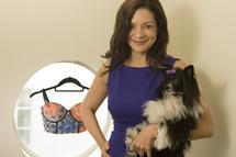 SB Naja.co. CEO Catalina Girald with some of her product and her dog