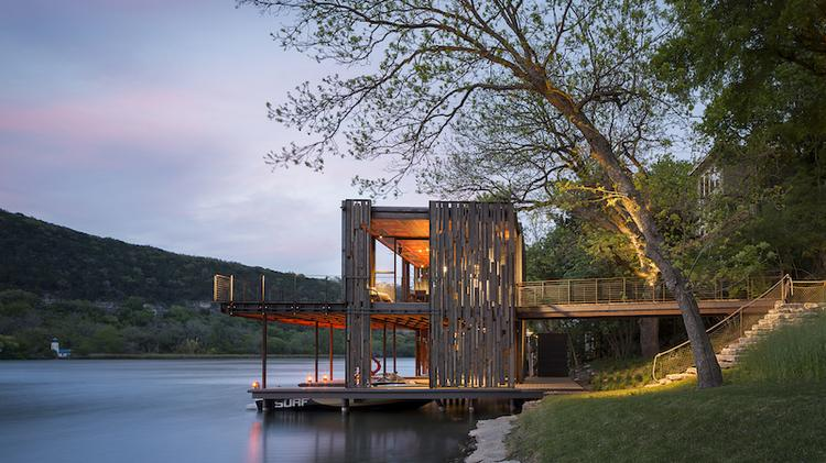 The Bunny Run boat house designed by Austin's Andersson-Wise Architects is a quintessential Zen venue on Lake Austin.