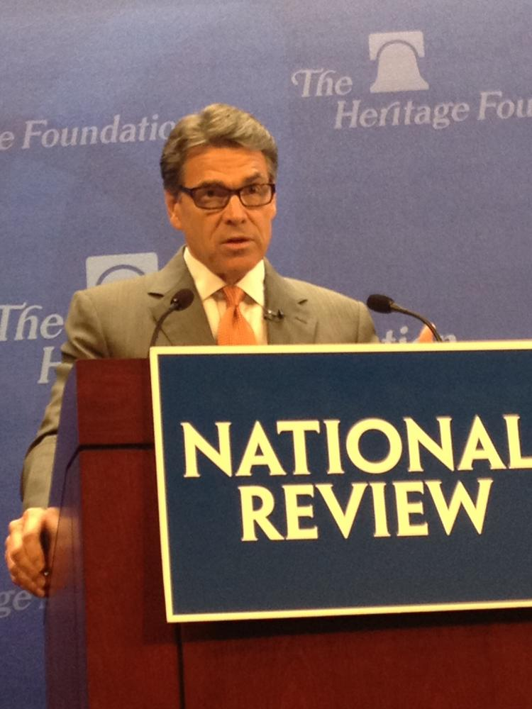 Texas Gov. Rick Perry speaks about border security -- and its implications for national security -- at a Heritage Foundation event.