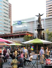 Event programming at Fountain Square often draws a diverse crowd.