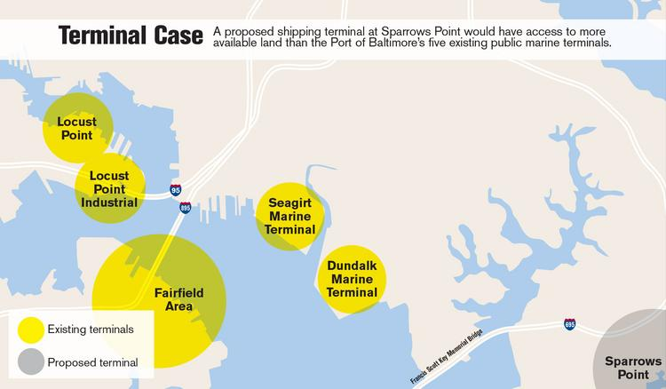 The lay of the land in the Port of Baltimore. Officials are exploring the feasibility of a proposed shipping terminal in Sparrows Point.