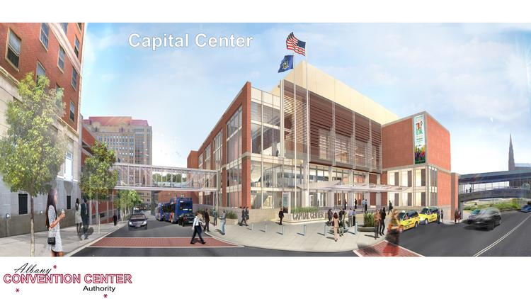 Rendering of the proposed $66.5 million Albany Convention Center in downtown Albany, New York.